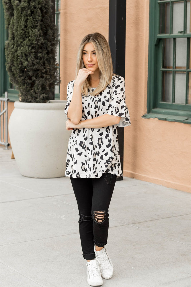 Leopard Flare Sleeve Top | S-3X