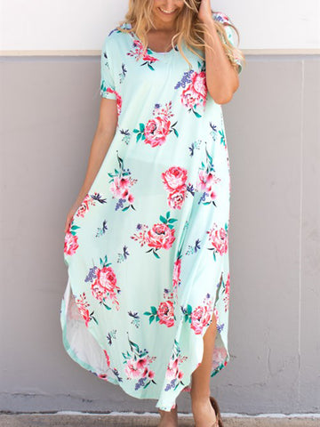 Relaxed Floral Maxi Dress - Mint