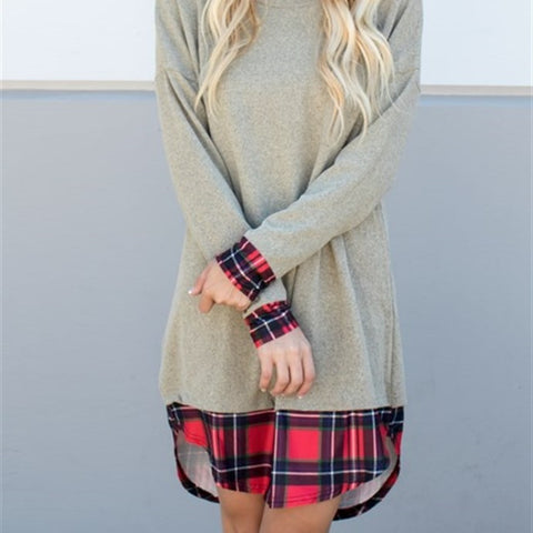 Plaid Accent Tunic Sweater Dress - Tickled Teal LLC