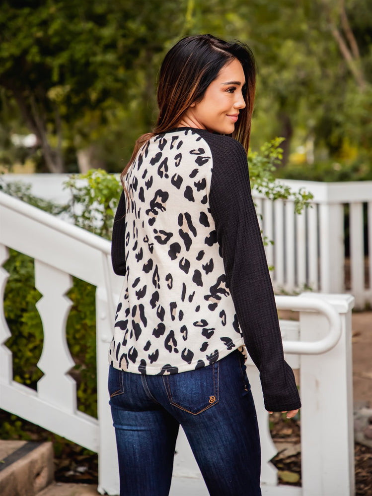 Monica Top - Cream Leopard/Black