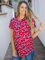 Floral Short Sleeve Mia Top - Red Blue Floral