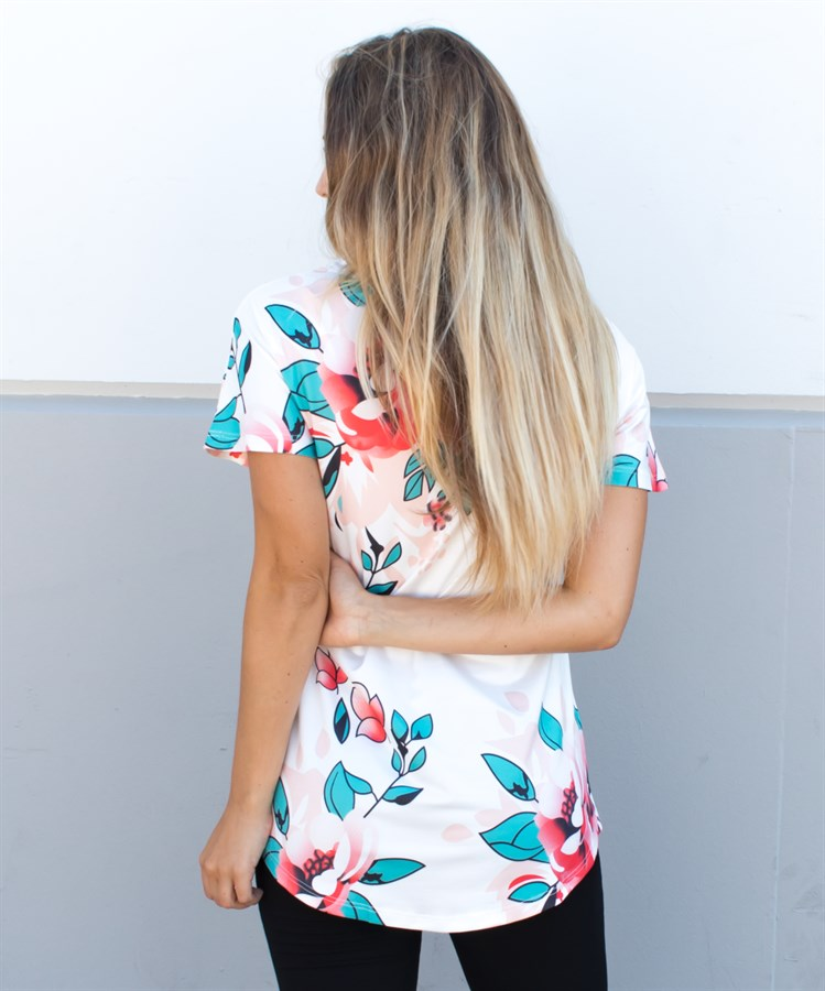 Floral V-Neck Tunic -  White - Tickled Teal LLC