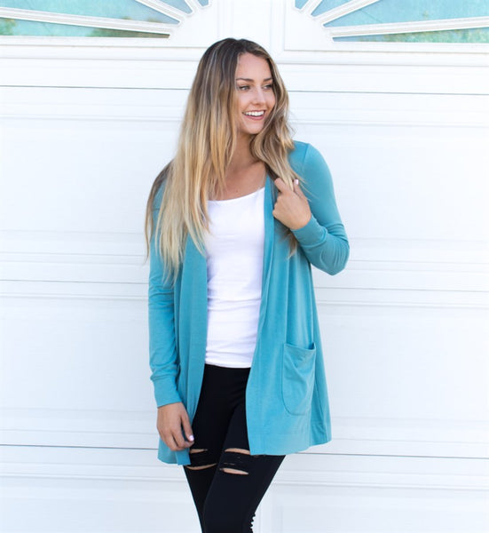 Long Sleeve Boyfriend Cardigan - Blue
