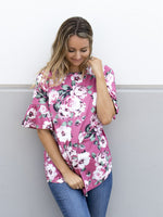 Floral Flare Sleeve Tunic - Pink