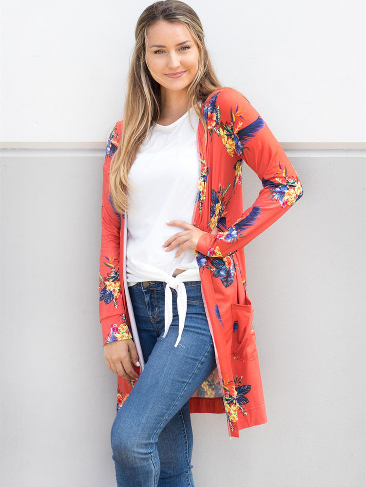 Floral Long Sleeve Cardigan - Orange