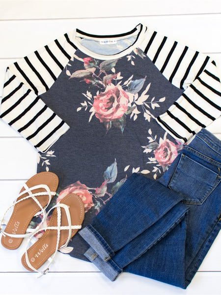 Floral Body Stripe Sleeve Raglan