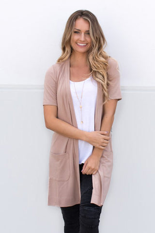 Short Sleeve Pocket Cardigan - Tan - Tickled Teal LLC