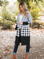 Cooper Cardigan - Gray Stripe/White Plaid