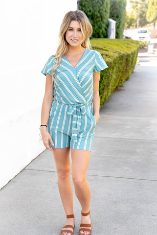 The Brooklyn Romper - Aqua