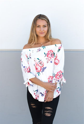 Floral Off Shoulder Top - Ivory