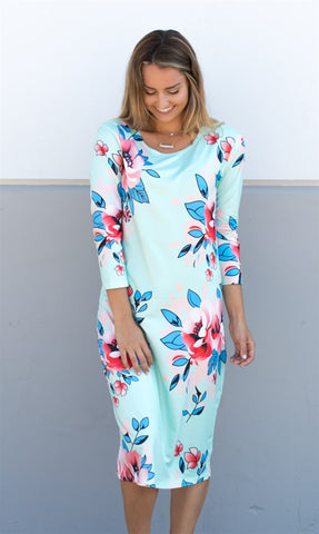 Floral 3/4 Sleeve Midi Dress - Mint