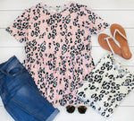 Cheetah Print Peplum Top - Pink - Tickled Teal LLC