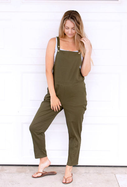 The Lyndsey Overalls - Olive - Tickled Teal LLC
