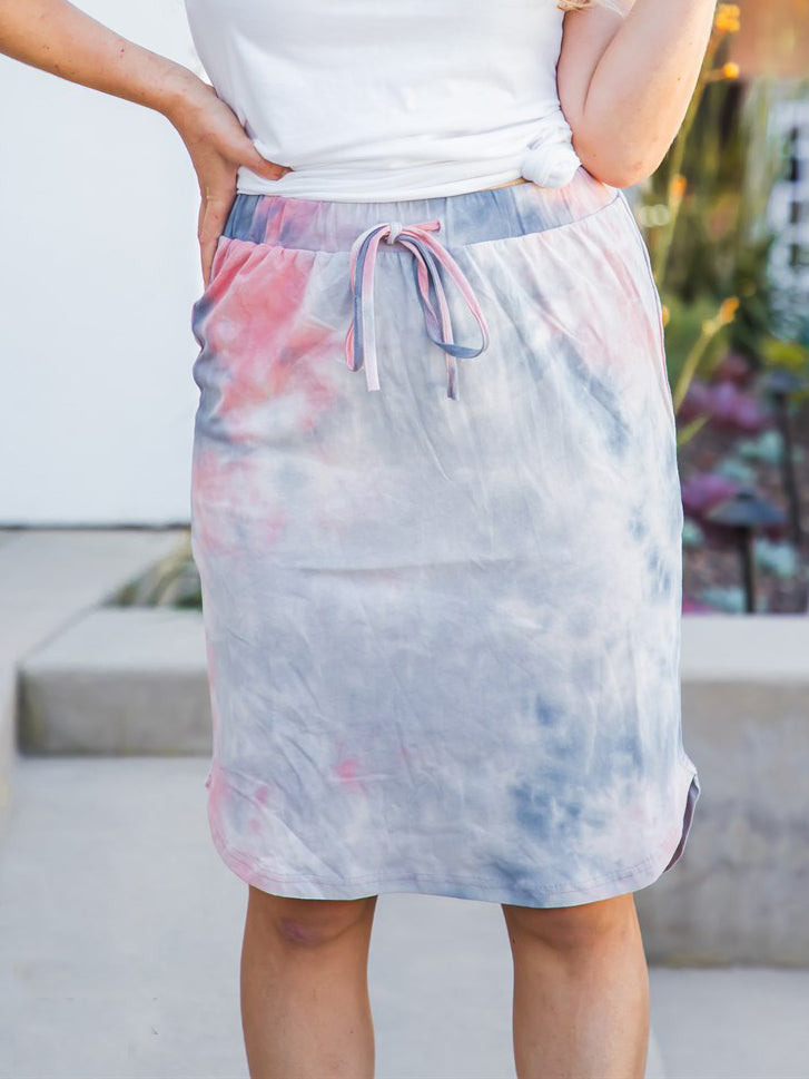 Tie Dye Weekend Skirt - Gray/Pink