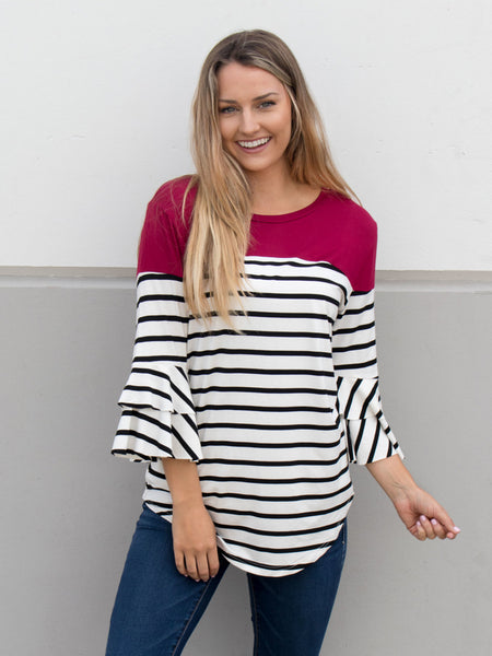 Double Ruffle Stripe Color Block Top - Cranberry - Tickled Teal LLC