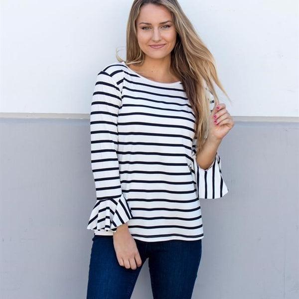 Striped Flare Long Sleeve Top - Tickled Teal LLC