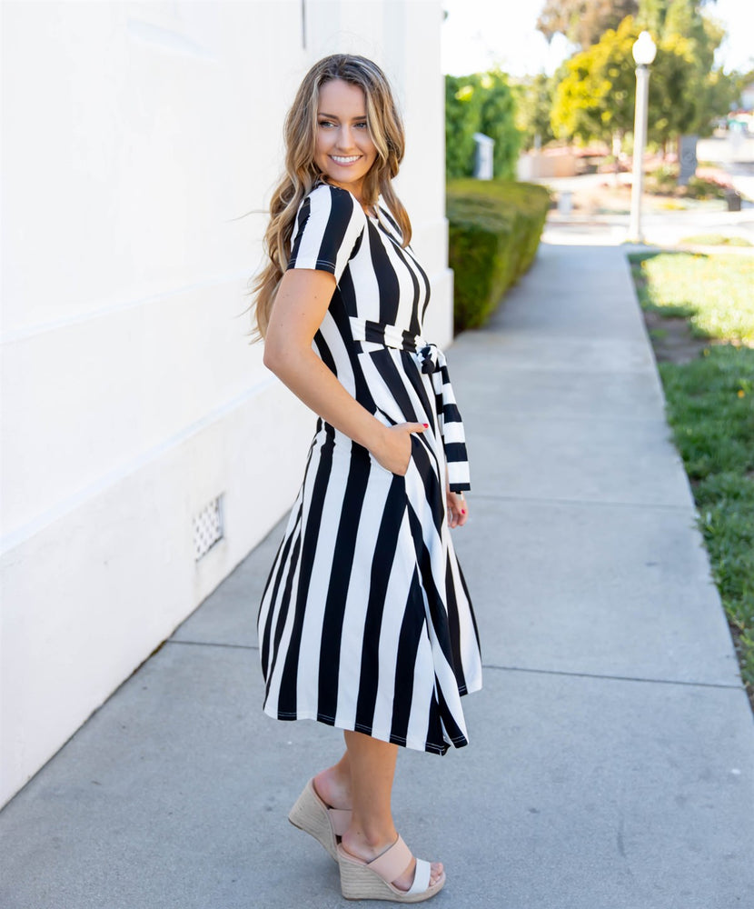 Cali Striped Tie Dress - Black