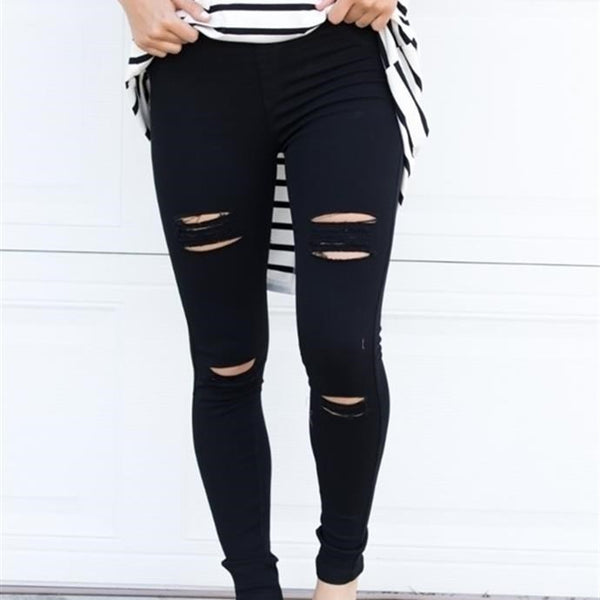 Distressed Jeggings - Black - Tickled Teal LLC