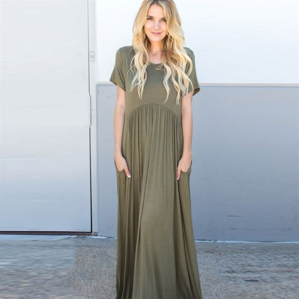 Peplum Pocket Maxi Dress - Olive - Tickled Teal LLC