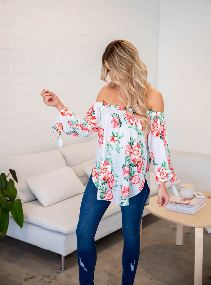 Floral Mila Off Shoulder Top - White