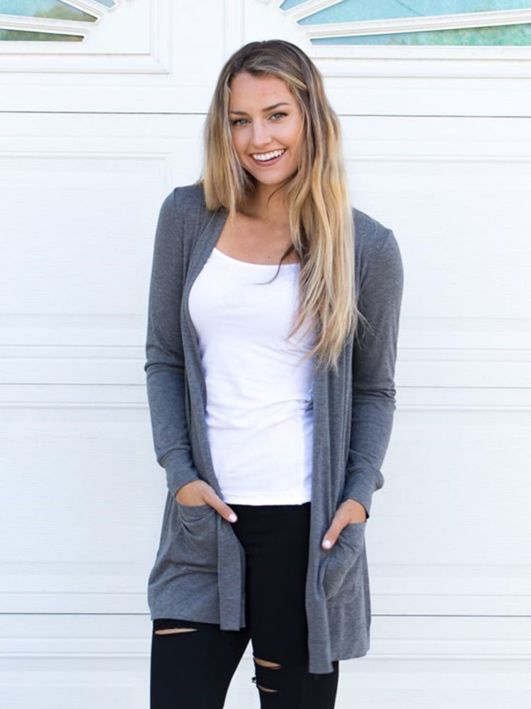 Long Sleeve Boyfriend Cardigan - Charcoal
