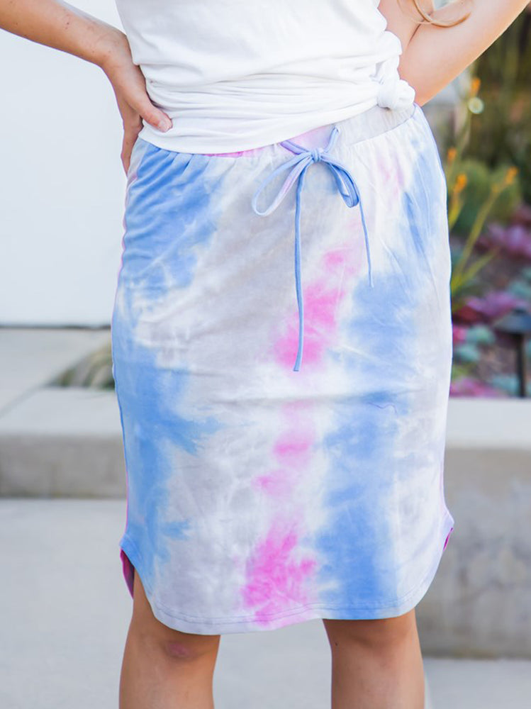 Tie Dye Weekend Skirt - Blue/Pink