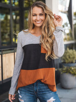 The Tammy Top - Orange/Black/Gray