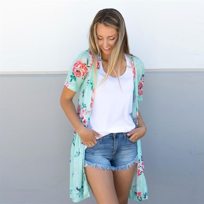 Short Sleeve Floral Knit Cardigan - Mint