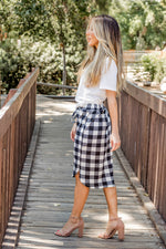 Buffalo Plaid Weekend Skirt - White - Tickled Teal LLC