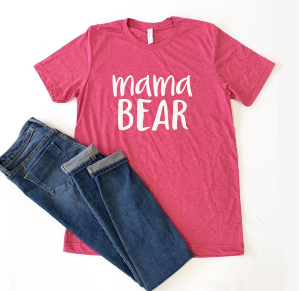 Mama Bear Crew Neck Tee - Tickled Teal LLC