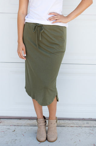 Laidback Midi Skirt - Olive - Tickled Teal LLC