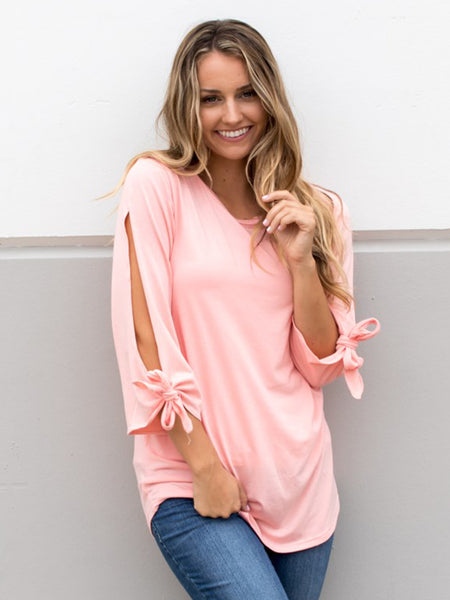 Tie Sleeve Tunic - Salmon - Tickled Teal LLC