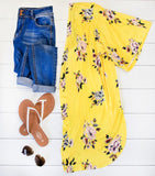 Floral Kimono - Yellow - Tickled Teal LLC
