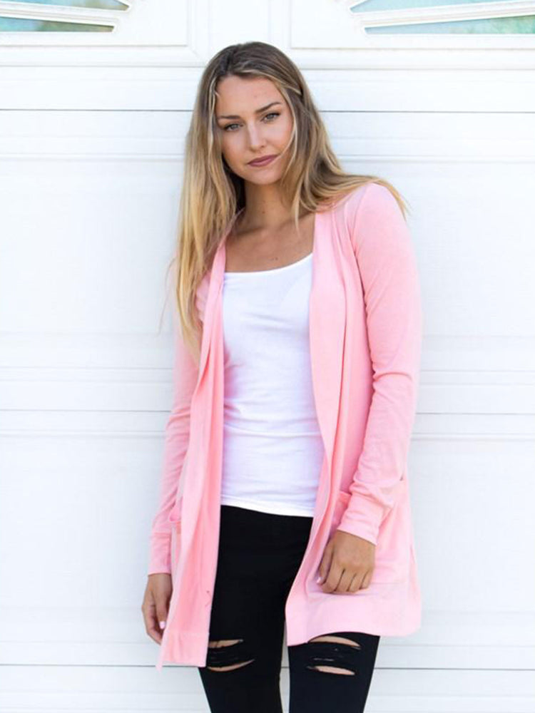 Long Sleeve Boyfriend Cardigan - Blush Pink