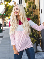 Darla Top - Red/White/Pink