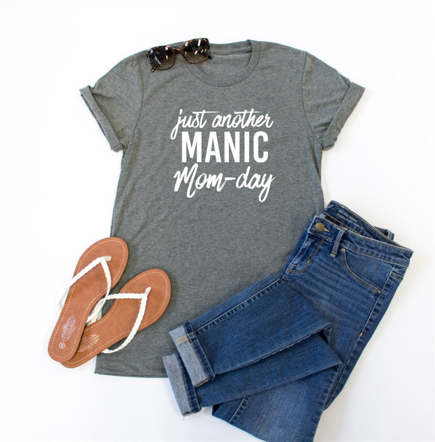 Just Another Manic Mom-Day Crew Neck Tee - Tickled Teal LLC