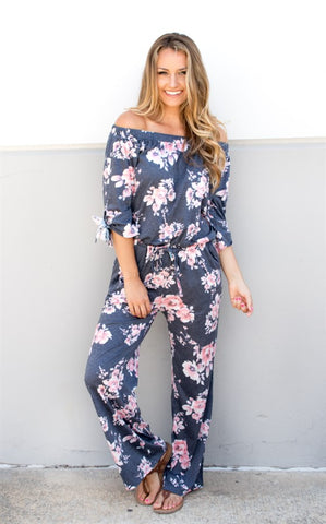 Floral Off The Shoulder Jumpsuit - Tickled Teal LLC