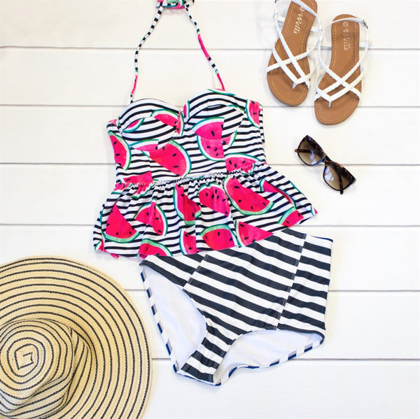 Two-Piece Peplum Swimsuit - Watermelon - Tickled Teal LLC