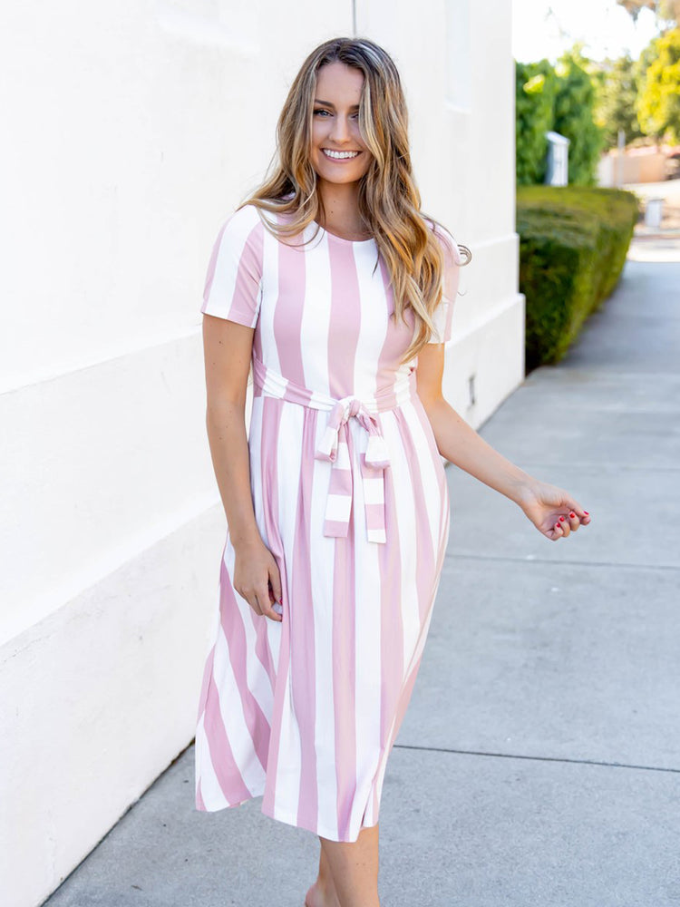 Cali Striped Tie Dress - Pink
