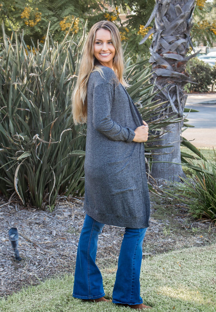 The Mae Cardigan - Charcoal - Tickled Teal LLC