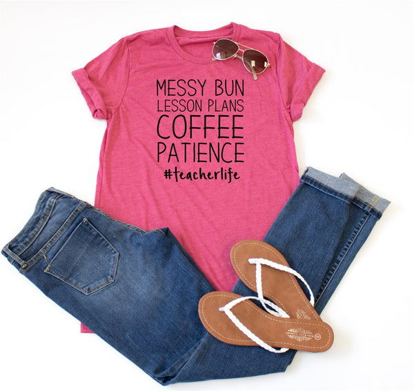 Messy Buns Lesson Plans #teacherlife Crew Neck Tee - Tickled Teal LLC