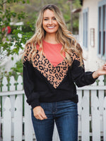 Donna Top - Coral/Brown Leopard/Black