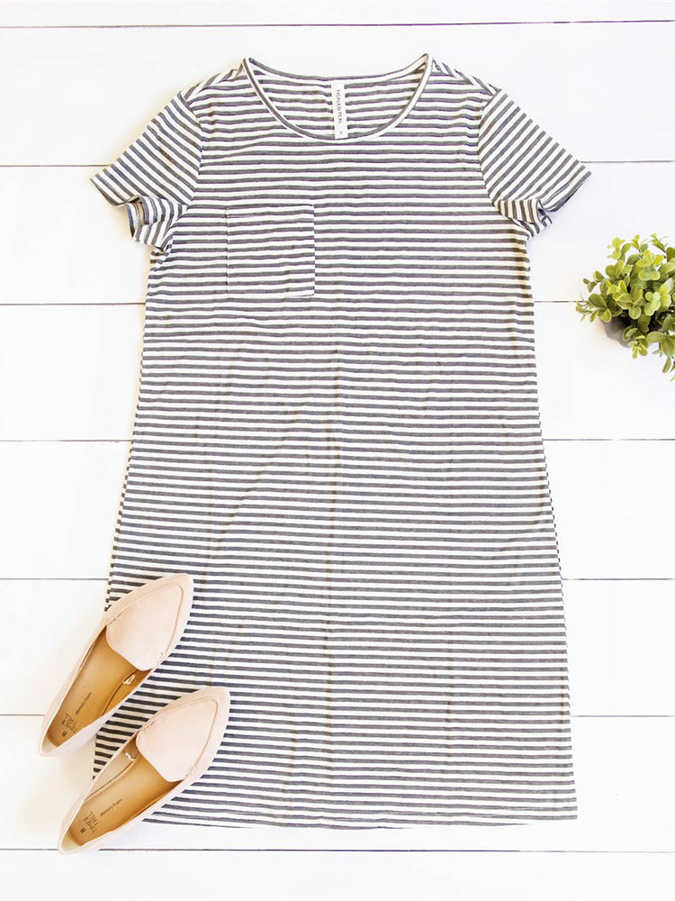 Kami Pocket Dress - Charcoal Stripe