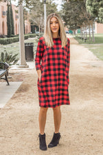The Plaid Camille Dress - Red - Tickled Teal LLC