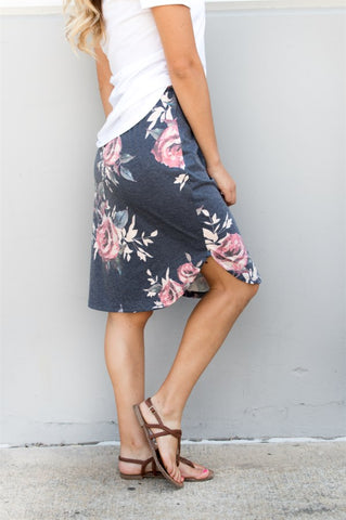 Floral Weekend Skirt - Charcoal - Tickled Teal LLC