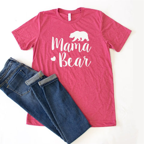 Mama Bear with Bear Crew Neck Tee