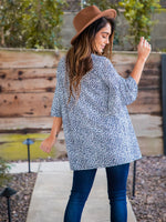 Moxie Cardigan - Small Blue Cheetah