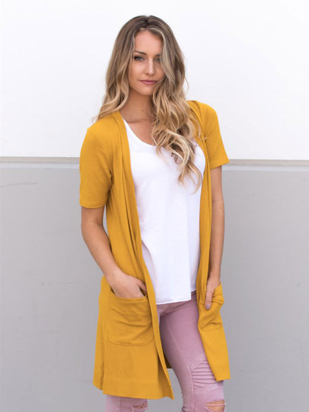 Short Sleeve Pocket Cardigan - Mustard