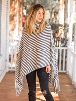 Stripe Poncho - Gray & White