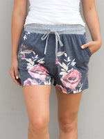 Floral Lounge Shorts - Charcoal